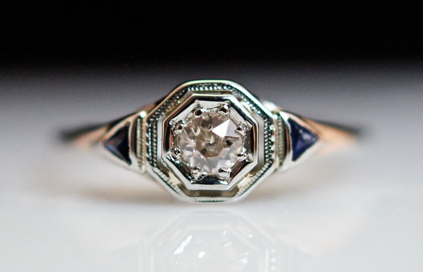Edwardian Period 14k Diamond and Sapphire Ring. $650.00, via Etsy. #edwardianperiod