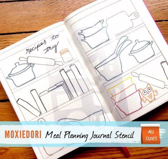Meal Planner Food Journal Tracker Bullet Journal Stencil For