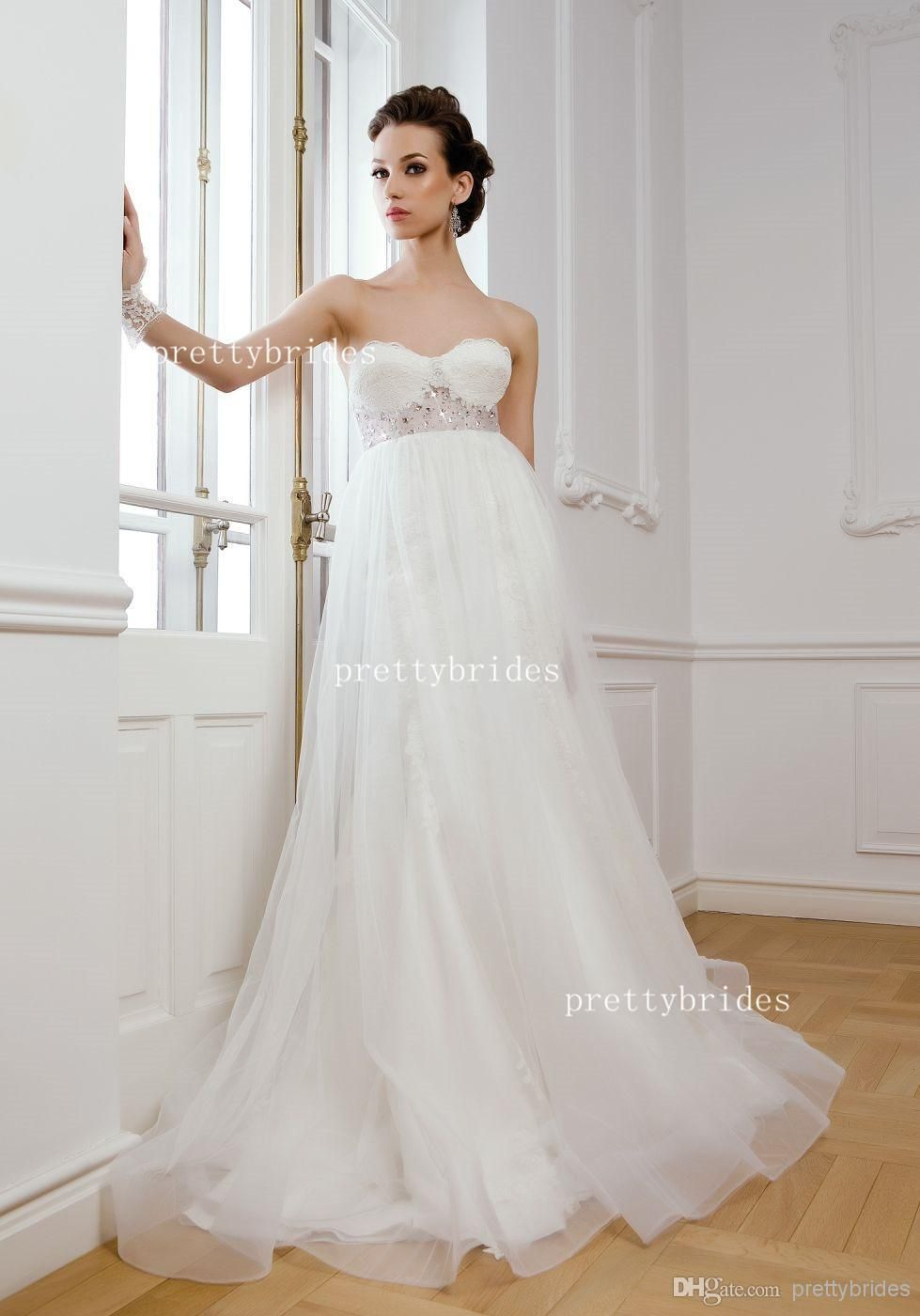 Click to buy ucuc hot sell strapless sweep train a line wedding