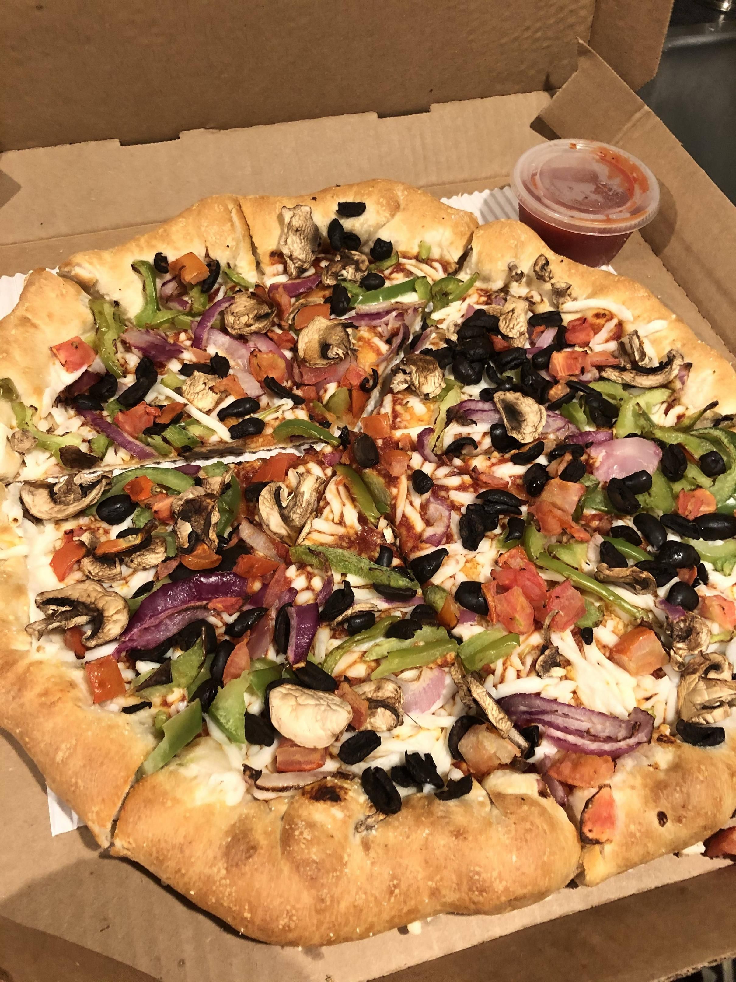 Ordered A Pizza With No Cheese From Pizza Hut Brought Some Vegan Mozzarella To Sprinkle On So It Would Melt On The Way Home Vegan Mozzarella Pizza Hut Pizza