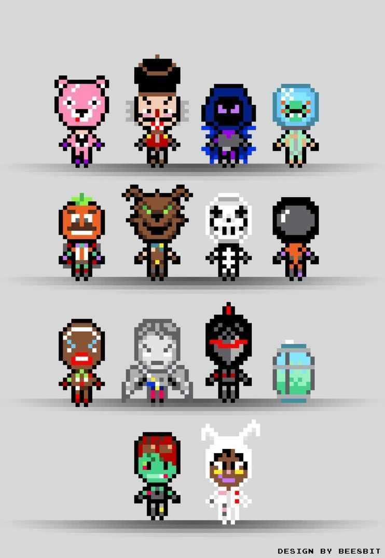 Pixel Art Skin Fortnite : pixel, fortnite, Fortnite, Pixel, Skins, Collection, Battle, Royale., Preparation, Perler, Beads,, Patterns
