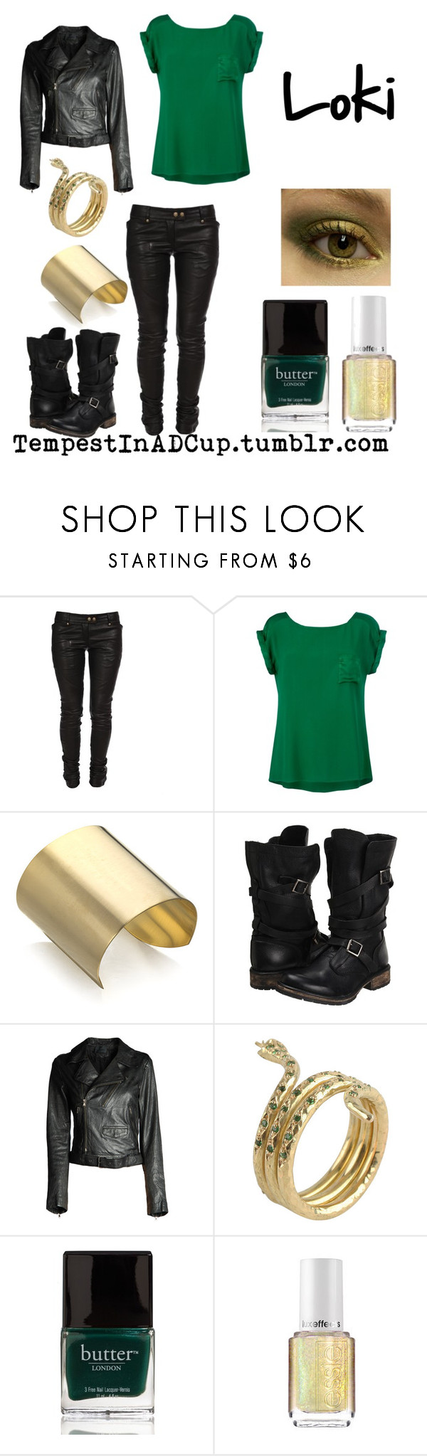 """Loki"" by rubylebeau ❤ liked on Polyvore featuring Balmain, Ghost, Citrine by the Stones, Steve Madden, Diesel Black Gold, Mira, Essie, ruby's comic book inspired outfits and loki"