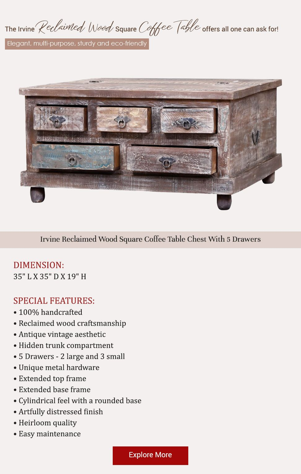 Irvine Reclaimed Wood Square Coffee Table Chest With 5 Drawers Chest Coffee Table Coffee Table Square Coffee Table With Drawers [ 1530 x 972 Pixel ]