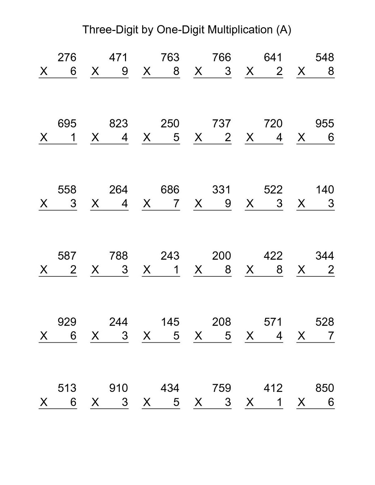 Printable Year 4 Math Worksheets Multiplication