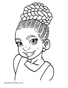 Adorable coloring pages of little girls of color