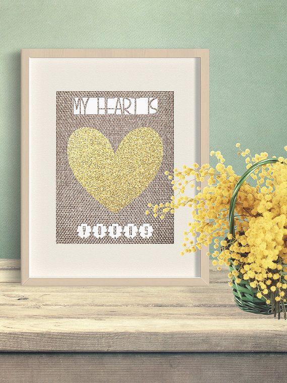 Printable wall decor, love wall art, heart wall art, my heart is ...