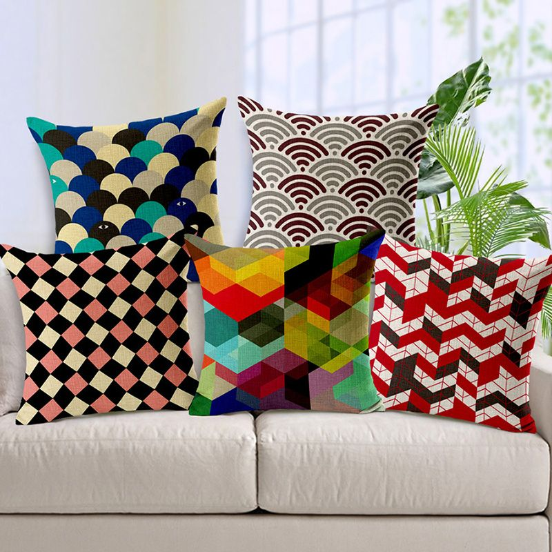Home D Cor On A Budget Wholesale And Retail 18in 18in Cushion Cover Fan Geometric Pattern Linen Cotton Decorative Pillow Cover Seat Pillow Case Aliexpress
