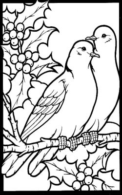 Two Turtle Doves Bird Coloring Pages Christmas Paintings