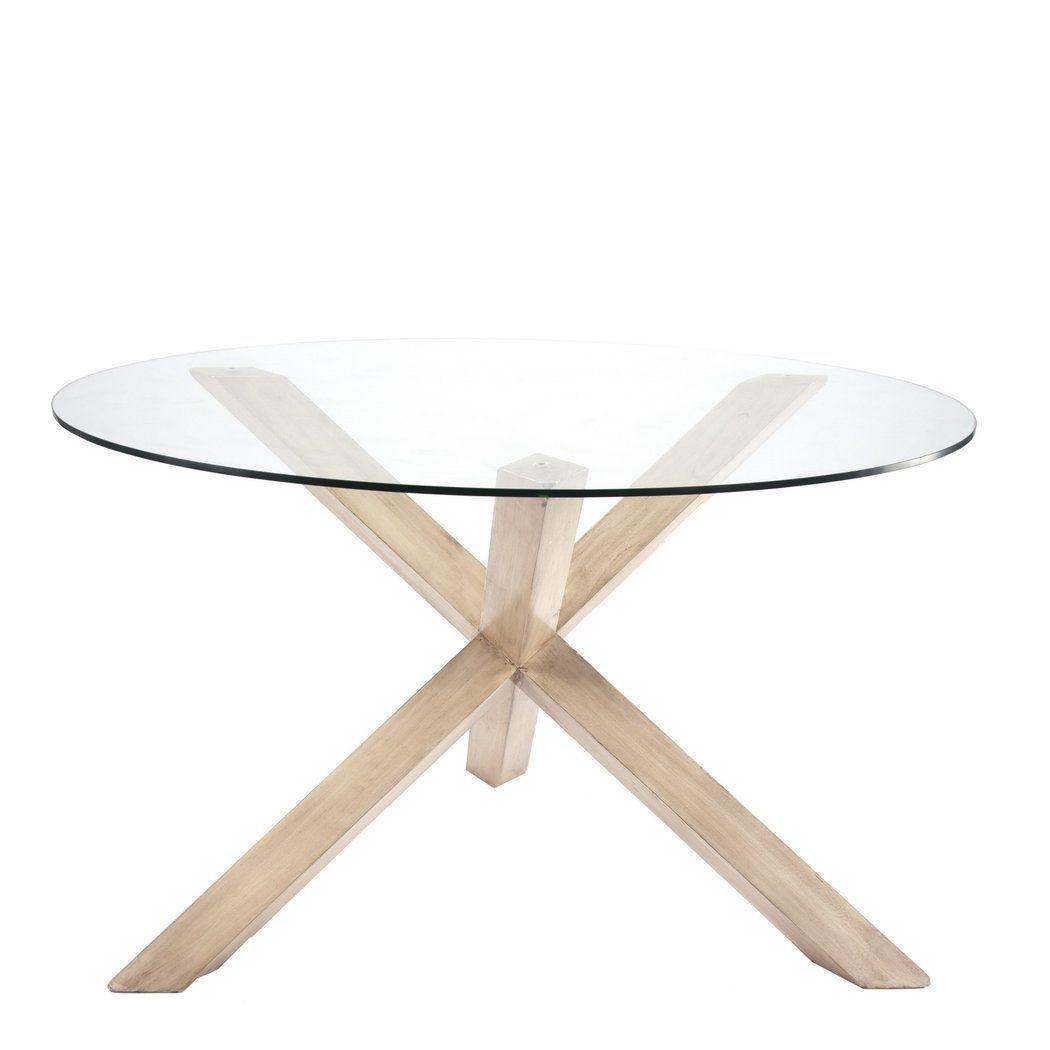 Mesa de comedor con patas cruzadas y tapa de cristal for Mesa comedor cristal