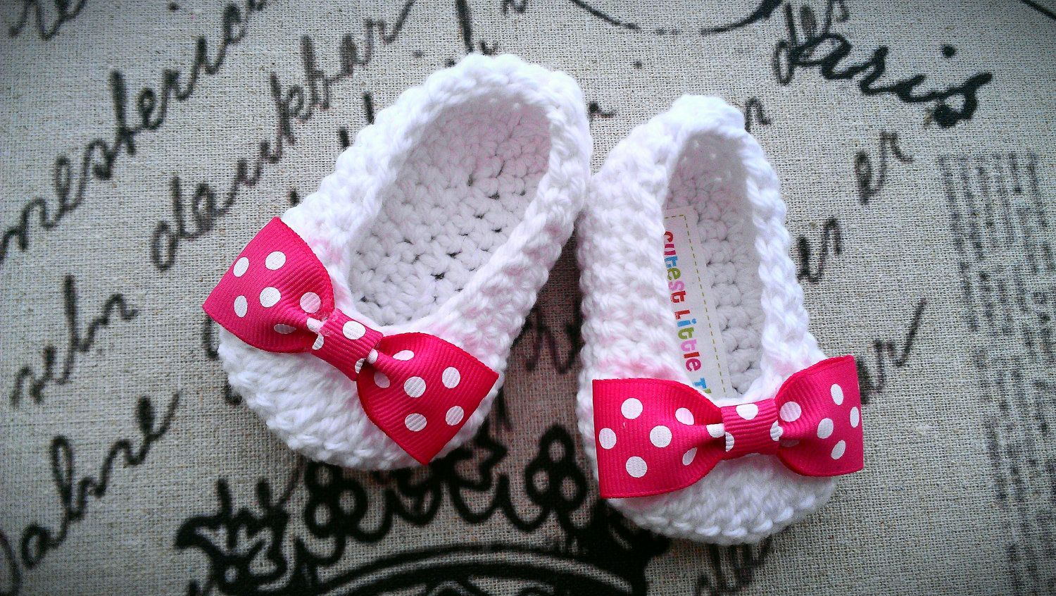 White Crochet Baby Booties Pink Bow Crochet Booties Baby Girl
