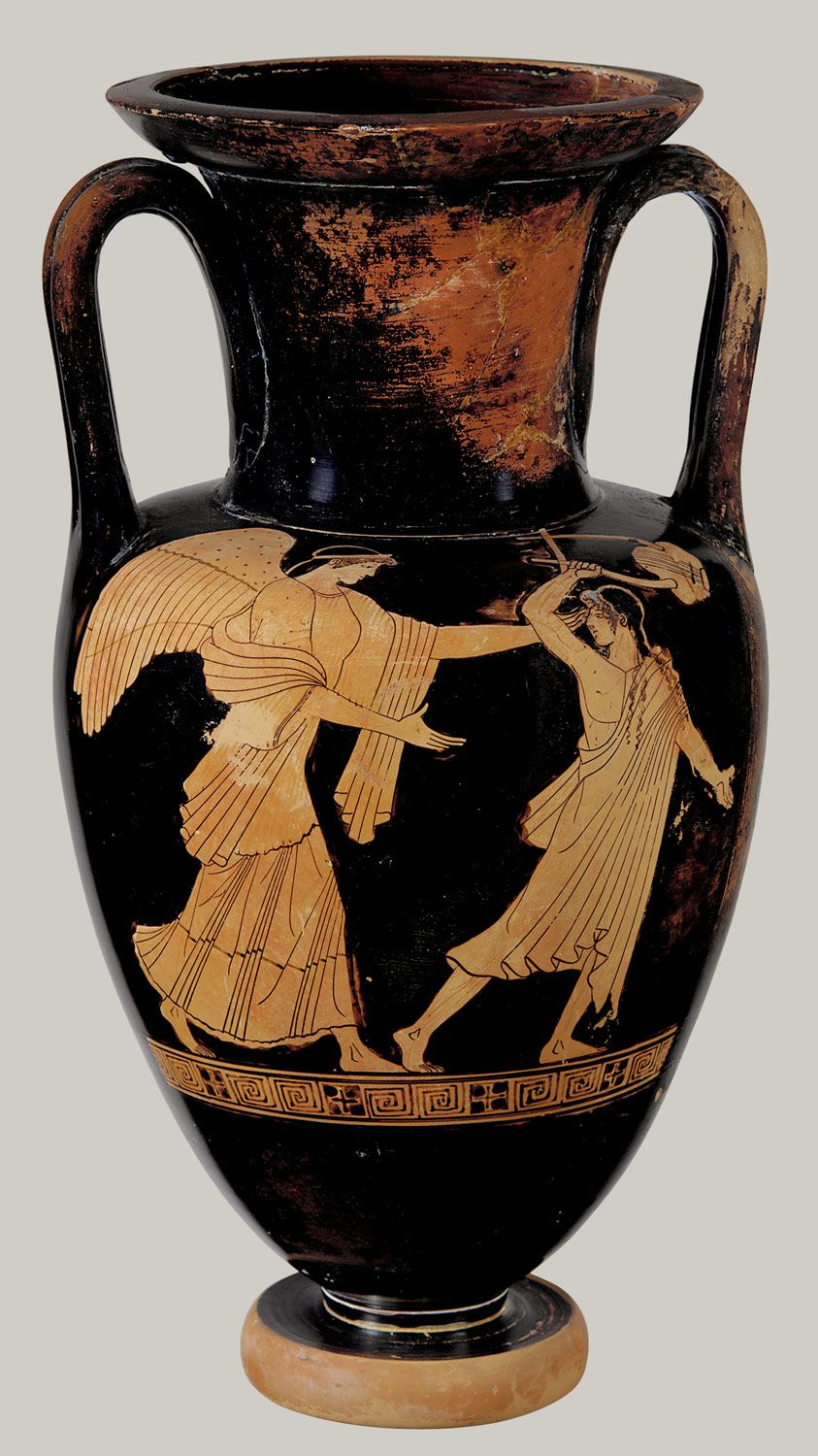 Terracotta Nolan neck-amphora (jar) Attributed to the Achilles Painter Period…