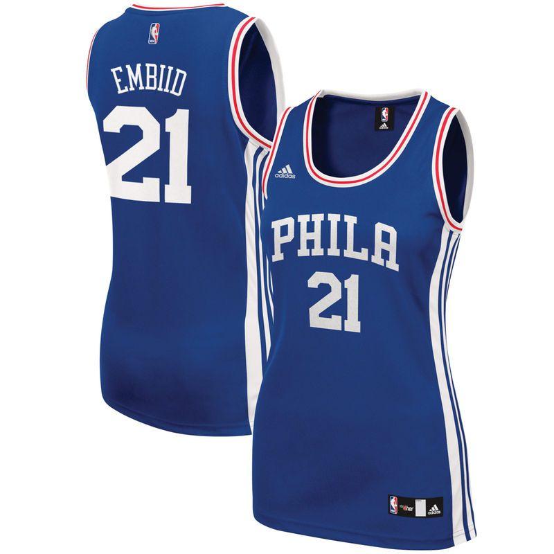 premium selection f4273 198d5 Joel Embiid Philadelphia 76ers adidas Women's Road Replica ...