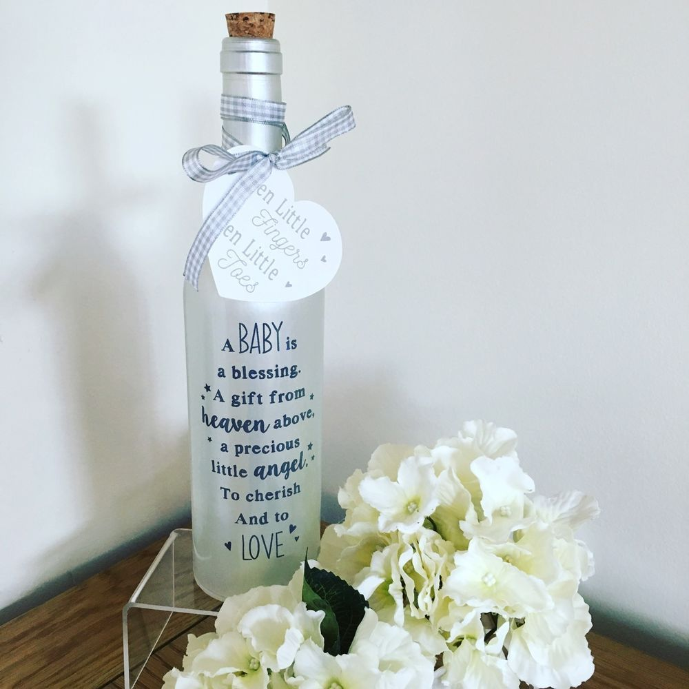 Your First Breath Starlight Bottle Glass Light Up Message Bottles New Baby Gift