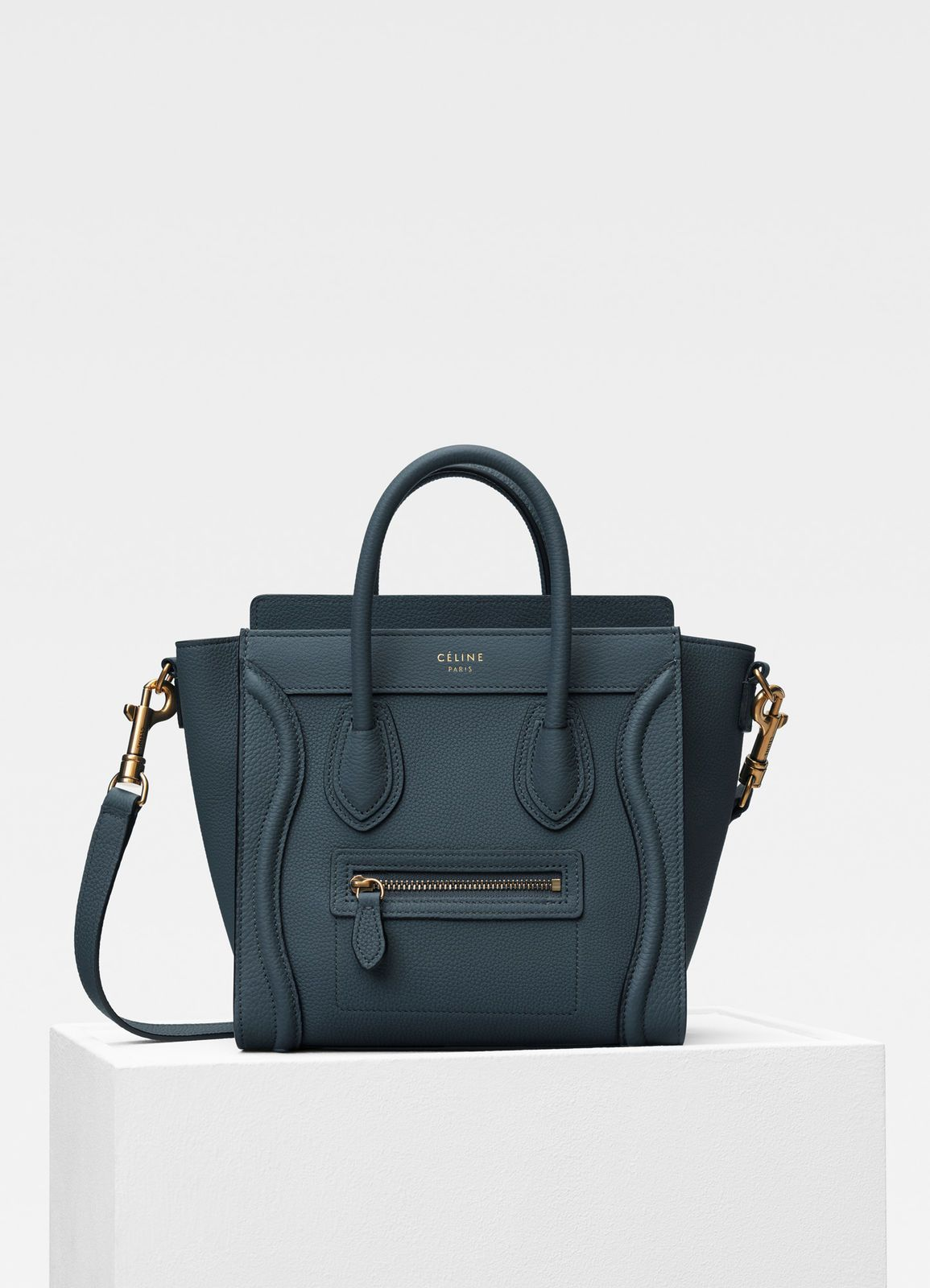 Céline Nano Luggage Tote in Slate Blue ($2,000)