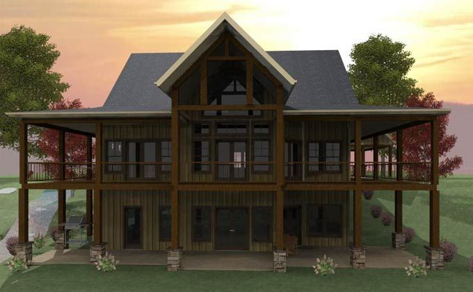 3 Bedroom Open Floor Plan With Wraparound Porch And Basement Basement House Plans House Plans One Story Lakefront Homes