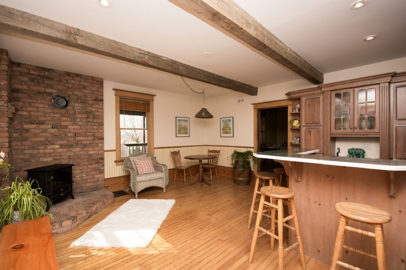 10249 RR 1, Uxbridge - Kitchen, wood stove and cozy ...