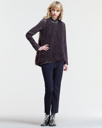 Monili-Collar Fur Top4925$, Trapeze-Hem Shirt975 $, Cropped Silk Trousers995$ & Bronzite Bolero Necklace 995$ by Brunello Cucinelli at Neiman Marcus.