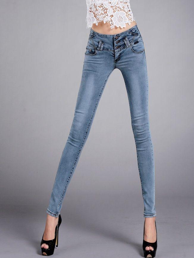 CP01991 High waist Korean style slim feet autumn jeans