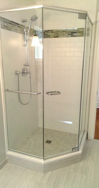 Semi Frameless Corner Shower Enclosure It Has A Hinged Door Two