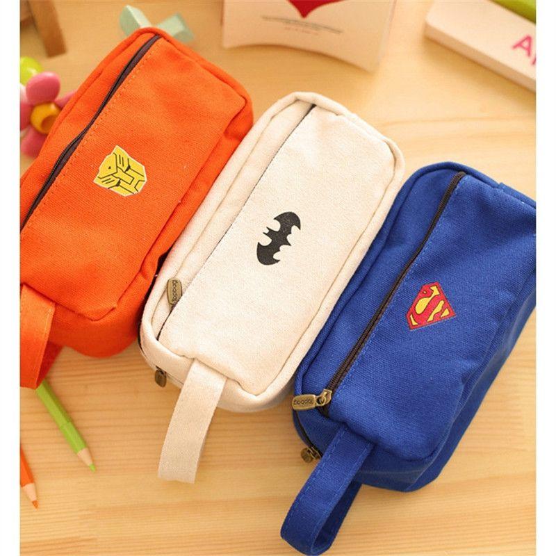 New Vintage Super Hero series Cloth Pencil bag cute Cartoon  Mini Superhero Pencil Case Stationery  Office school supplies