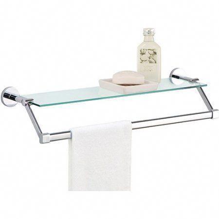 Glass Shelf with Chrome Towel Bar - Walmart