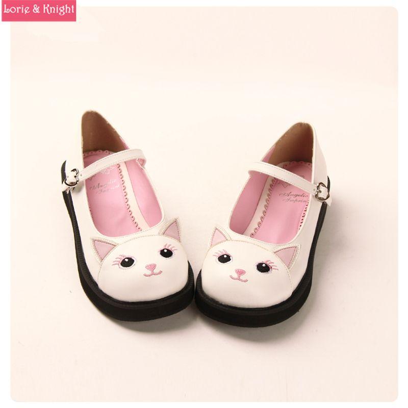 9e902a616238 Japanese Sweet Lolita Shoes Kawaii Kitty Round Toe Mary Jane Flat Shoes for  Girls
