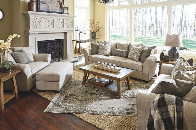 Living Room Decorating Example With This Product Jute Baxley Sofa Loveseat Chair Ottoman Neutral Simple