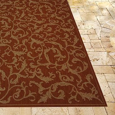 Entwined Outdoor Area Rug In Terra Cotta Natural Grandinroad