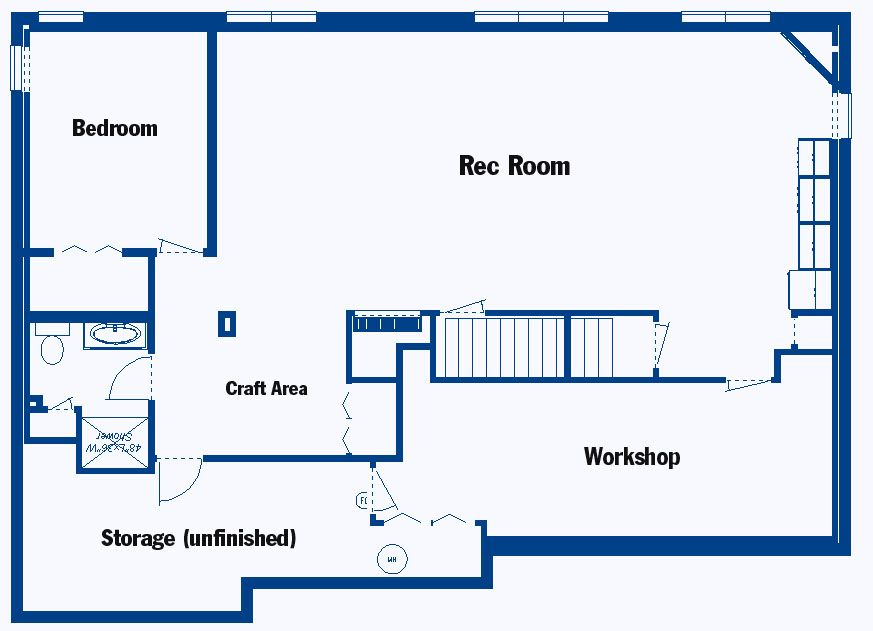 Basement floor plans on pinterest castle house plans for Design basement layout online free