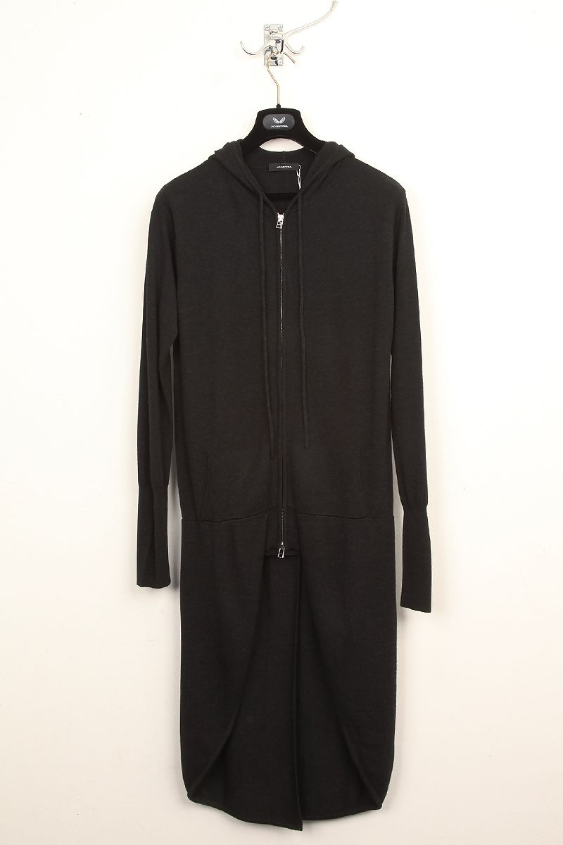 UNCONDITIONAL / UNCONDITIONAL'S BLACK BOILED WOOL TAILCOAT HOODIE.