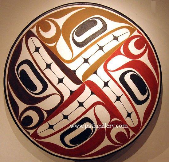Four Seasons drum by Rande Cook, Kwakwakwa'wakw, ca.2006. Deer hide, cedar and paint
