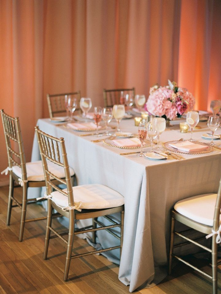 Blush pink and soft gray wedding table decorations