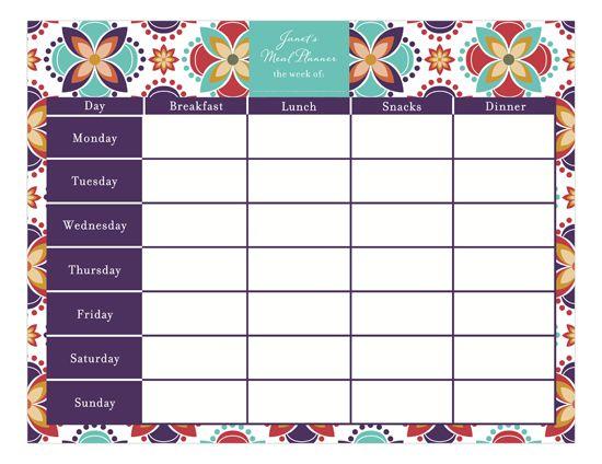 Meal Planner Calendar Pad  Meal Planner Calendar Calendar Pad