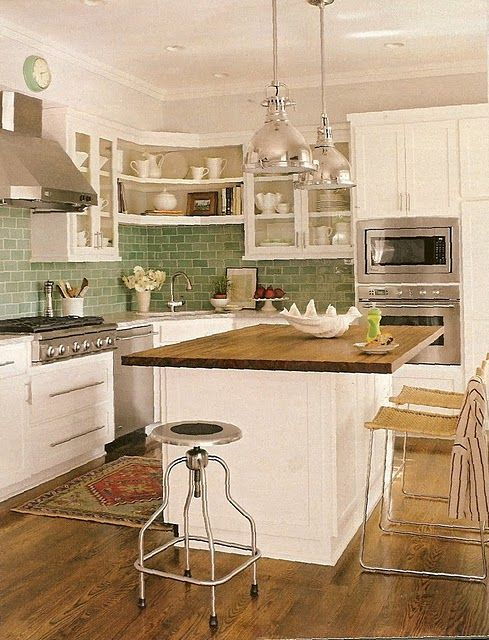 Great Wood Counter Top Island And Green Tile Backsplash Diy