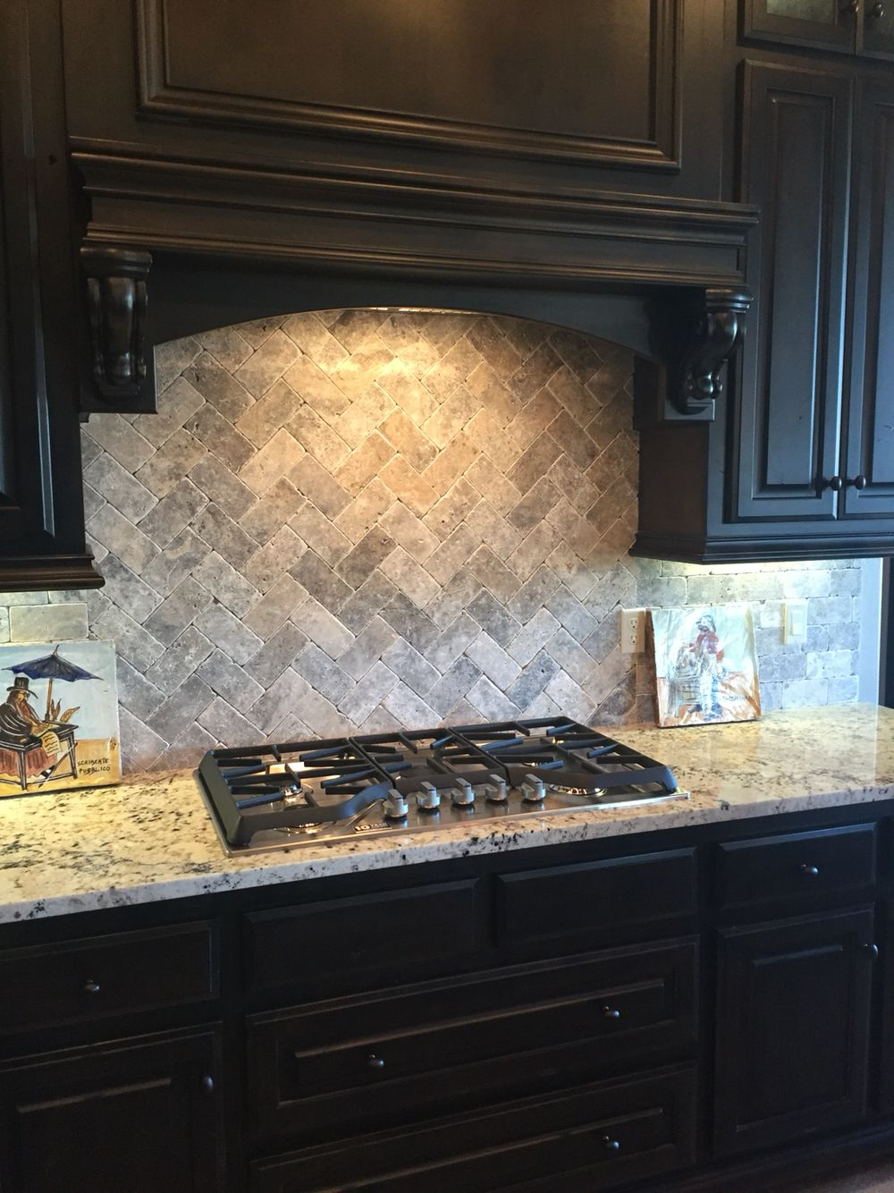 Travertine subway tile with herringbone pattern for ...