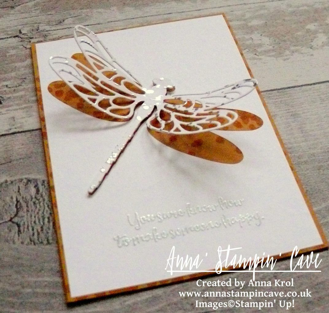 Dragonfly Dreams Clean & Simple Card For GDP069 Colour Challenge using Dragonfly Dreams Stamp Set and coordinating Detailed Dragonfly Thinlits Dies