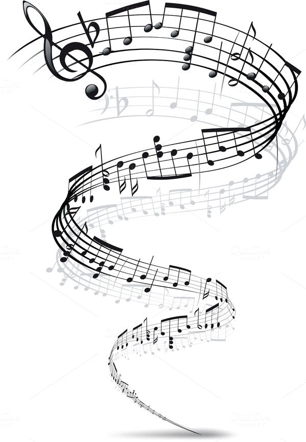music notes twisted into a spiral by sharpner on Creative Market #musicnotes