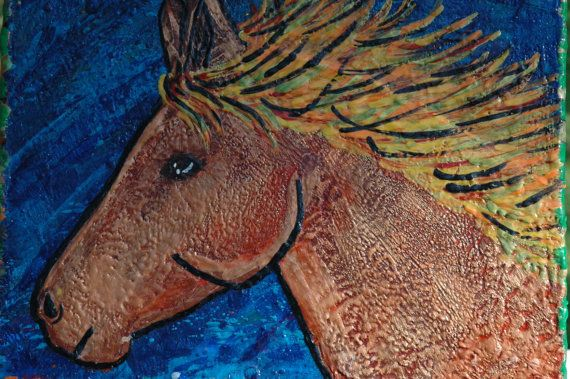 Beautiful horse wax painting 11x14 by WaxologyArtistry on Etsy
