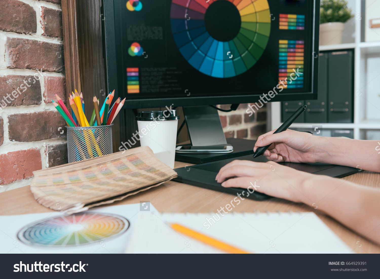 Professional Beauty Woman Editor Using Digital Pad Pen Drawing