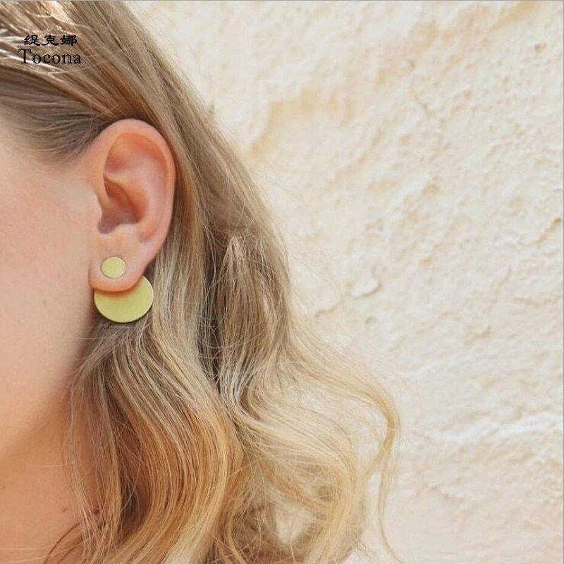 Gold Silver Pink Geometric Round Circle Stud Earrings For Women Small Earrings Brinco Ear Jewelry