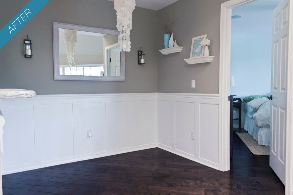 Jenna Sue Dining Room Wainscoting Done Plus Valspar Magic Spell Color Top Half