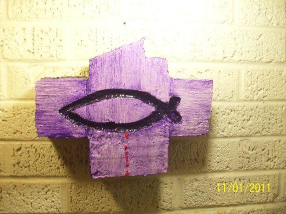 Christian Fish Symbol on a Weathered wood by WoodsandWatersArts, $8.00
