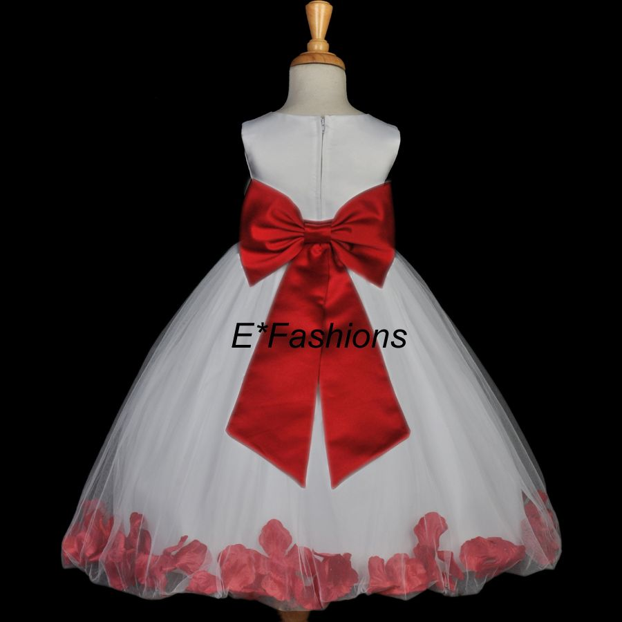 White Apple Cherry Red Flower Girl Dress Med 2 4 6 8 10 Red And