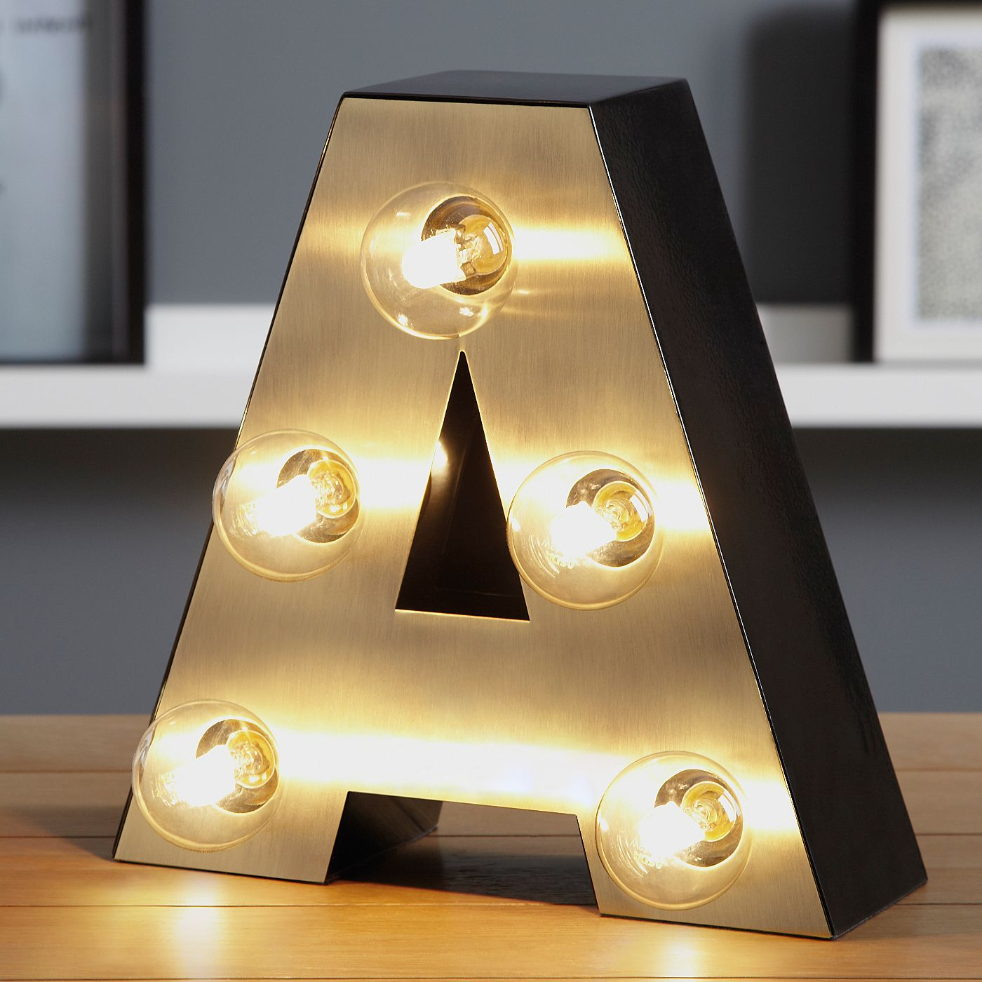 Gold Lit Letters George Home Letter A Lamp  Gold  Table Lamps  Asda Direct