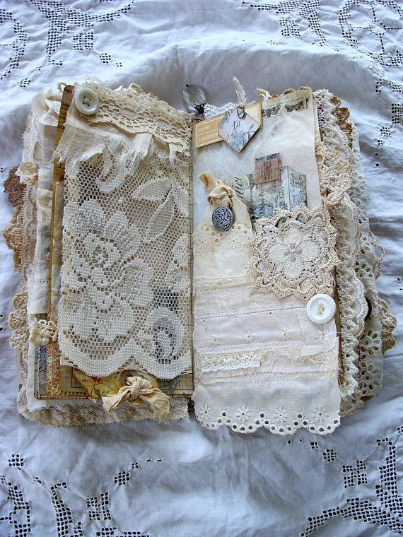 Leather And Lace Travelers Notebook Junk Journal Dori Planner Smash Book Vintage Shabby Tattered Handmade Handmade Journals Handmade Books Junk Journal