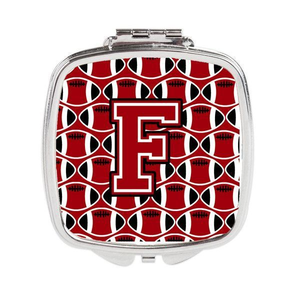 Letter F Football Red, Black and White Compact Mirror CJ1073-FSCM