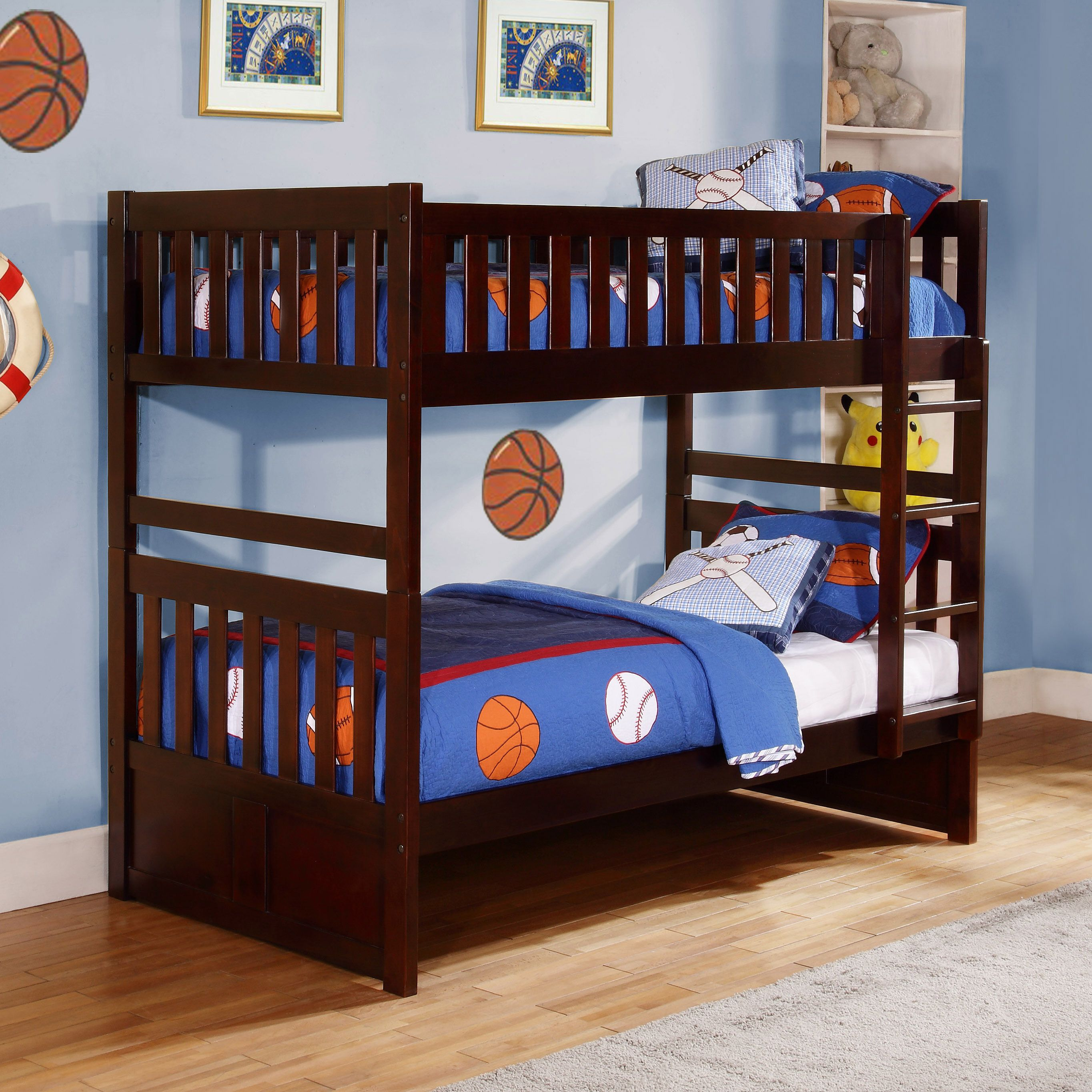 Hunter Traditional Dark Cherry Wood Bunk Bed With Trundle And
