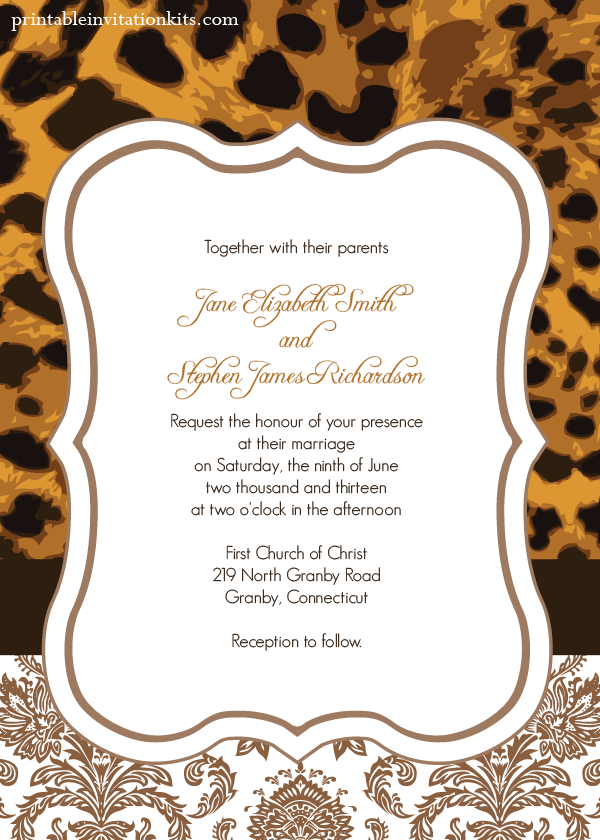 FREE PDF Template Download Leopard Print Wedding Invitation Is Very Easy To Edit And At Home