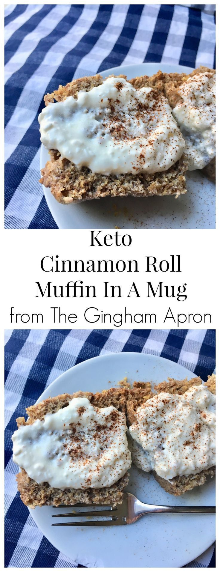 Keto Cinnamon Roll Muffin in a Mug- you won't believe that this warm delicious treat is low-carb. And the cream cheese frosting takes this over the top! Ready in minutes! Keto Recipes: