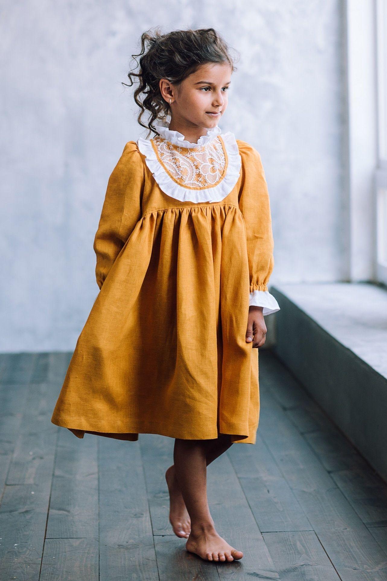 Girls linen dress linen flower girl dress long sleeve